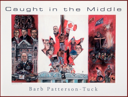 Barb Patterson-Tucks's 2008 award-winning painting depicting the Caledonia crisis. Click image to see a high-res version and more info about those depicted, including VoiceofCanada editor Mark Vandermaas (wearing blue UN beret, R side of maple leaf).