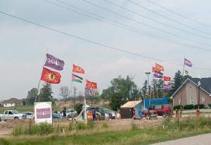 Caledonia occupation site, May 03/11: Palestinian flag w/Mohawk Warrior flag