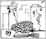 1967 6 Day War cartoon expressing hope for Jewish extermination from Syrian newspaper -al-Jundi al'Arabi. Source: www.sixdaywar.co.uk