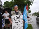 'Blue Beret' protests, Day 3, June 25/11: Mark Vandermaas with supporters, London Muslim Mosque, London, ON, Canada