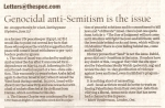 110627 Hamilton Spectator, Mark Vandermaas letter: 'Genocidal anti-Semitism is the issue'