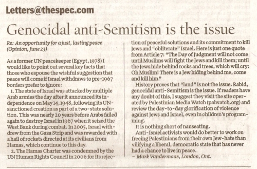Mark Vandermaas letter to Hamilton Spectator, June 27/11: Genocidal anti-Semitism is the issue