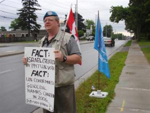 July 02/11, Day 10 of Mark Vandermaas's 'Blue Beret' vigil to protest London Muslim Mosque support for Cdn. Boat to Hamas, London, ON, Canada