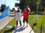 110704 Day 12 Blue Beret vigil vs. Mosque support for Cdn Boat to Gaza, London, ON, Canada