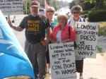 110716 Day 24 Blue Beret vigil vs. Mosque support for Cdn Boat to Gaza, London, ON, Canada. Caledonia resident Pat Woolley w/London ladies.