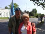 Mark Vandermaas w/supporter during Blue Beret vigil, June-July 2011