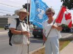 110718 (FINAL) Day 26 Blue Beret vigil vs. Mosque support for Cdn Boat to Gaza, London, ON, Canada + protest at London Free Press.