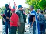Mark Vandermaas (blue beret) w/supporters during Blue Beret vigil, London Muslim Mosque, June - July 2011