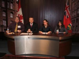 Ending Race-Based Policing:The Caledonia Act' news conference, Queen's Park, Feb 10/12: (L-R) Gary McHale, Canadian Advocates for Charter Equality; Stuart Laughton, Never Again Group; Kristin Kaye, Haldimand Regional News; Mary Lou Ambrogio, International Free Press Society