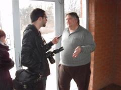 120218 Matt Day, Dunnville Chronicle interviews Gary McHale at OPP Haldimand Detachment following his release