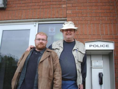 120421 CANACE co-founder/videographer Jeff Parkinson & Caledonia Victims Project founder Mark Vandermaas following their release from custody at the OPP Haldimand Detachment, Cayuga, Ontario Canada