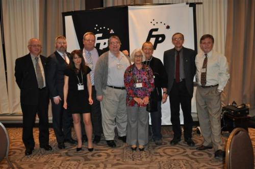 120421 Freedom Party of Ontario 'Red Alert' dinner meeting. L-R: Robert Vaughan, Leader Paul McKeever, Mary Lou Ambrogio, Mark Vandermaas, Gary McHale, Eva Ryten, Al Gretzky, Bob Metz, Bjorn Larsen.