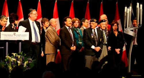 120423 Mark Vandermaas (white shirt & tie, behind podium) with other members of 'Zachor Coalition,' National Holocaust Remembrance Day ceremony, Canadian War Museum, Ottawa, Ontario, Canada.