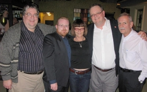101027 Helpless launch party (L-R): Gary McHale, Jeff Parkinson, Christie Blatchford, Mark Vandermaas, Merlyn Kinrade.